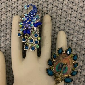 Bundle of NWT PEACOCK ADJUSTABLE RINGS